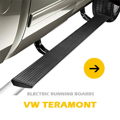 Weatherproof, OEM-quality electric motors, drive system and wiring harness powered running board for VW Teramont